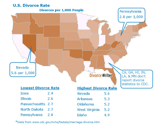 U.S. Divorce Rate Map