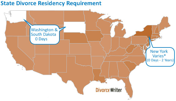 Divorce Minimum Residency Requirement Map