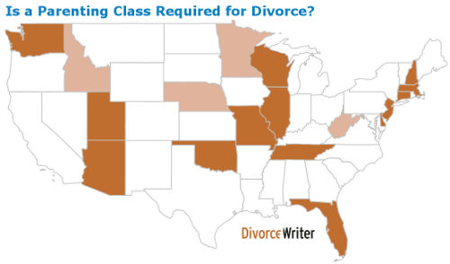 Map of U.S. states that require divorce parenting class