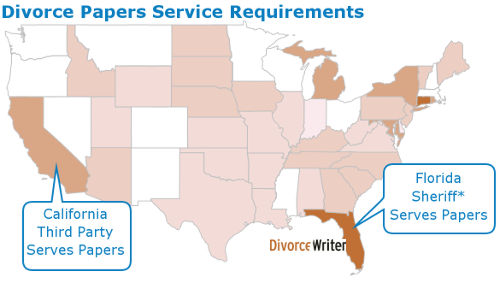 serving divorce papers map